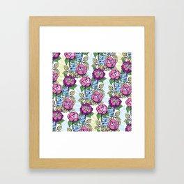 Peony flowers and koalas bears Framed Art Print