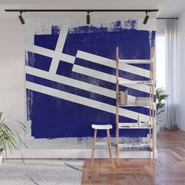 Greek Distressed Halftone Denim Flag Wall Mural