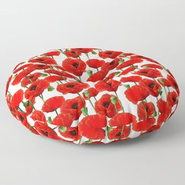 Red Poppy Pattern Floor Pillow