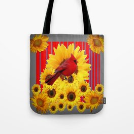 YELLOW SUNFLOWERS RED CARDINAL GREY  ART Tote Bag
