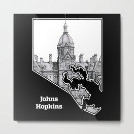 Johns Hopkins Hospital Etching Metal Print