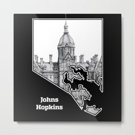 Johns Hopkins Hospital Etching Metal Print