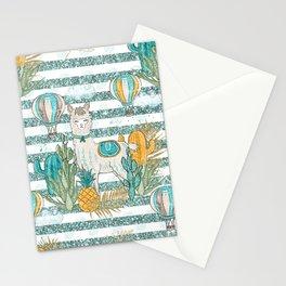 Cute Llama & Succulent Teal Glitter Stripe Pattern Stationery Cards