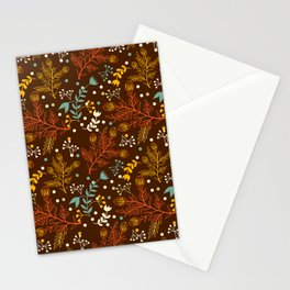 Elegant fall orange yellow teal brown floral polka dots Stationery Cards
