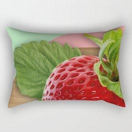 Large Strawberry Wood Geometric Shapes Rectangular Pillow