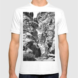 waterfall rope bridge kaunertal alps tyrol austria europe black white 1 T-shirt