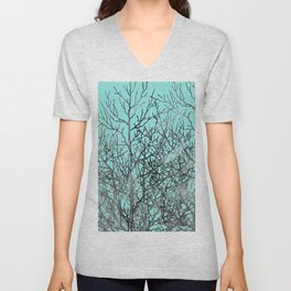 Hand painted teal black gray watercolor trees Unisex V-Neck