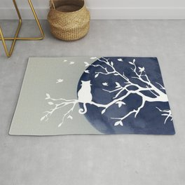 Blue moon | Dark moon | Cat on tree branch | Witchy cat | Wicca Rug