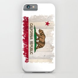 California Republic flag on woodgrain   iPhone Case