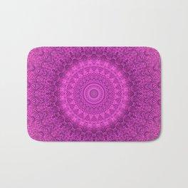 Sunflower Peacock Feather Bohemian Pattern \\ Aesthetic Vintage \\  Bright Fuchsia Pink Color Scheme Bath Mat