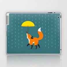 Happy as a Fox balancing an Umbrella in the Rain Laptop & iPad Skin