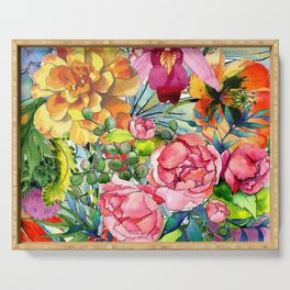 Watercolor Flowers No3 Serving Tray