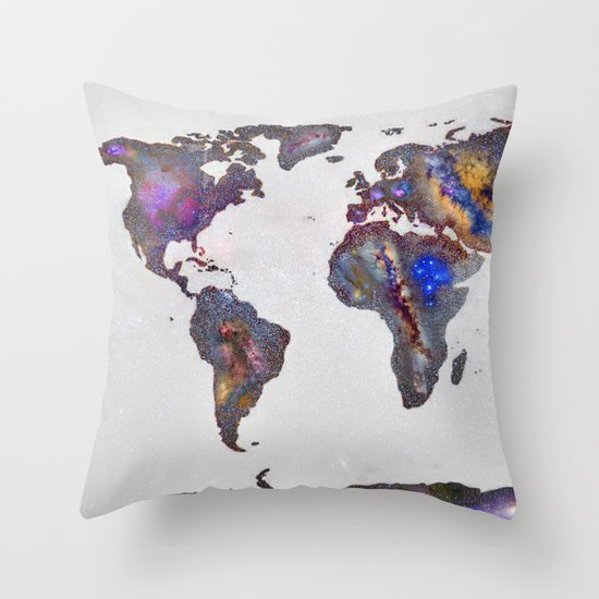 Stars world map Throw Pillow