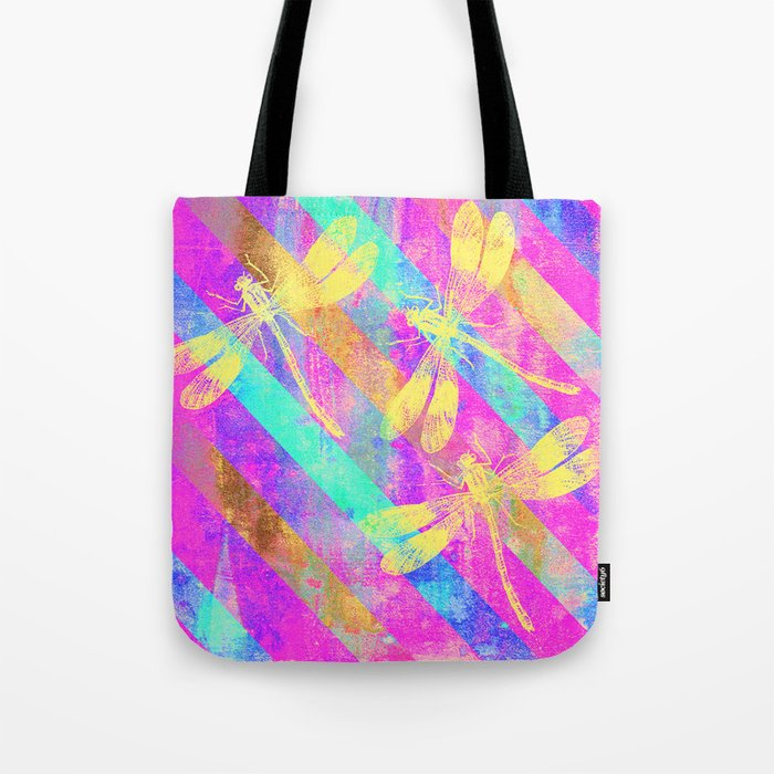 A Dragonflies and Stripes Tote Bag