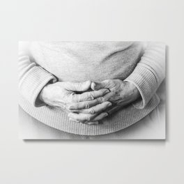 Woman keeping hands in prayer on her belly Metal Print