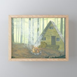 Cozy Fall Cabin in the Woods Illustration Framed Mini Art Print