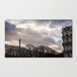 Eiffel tower cloudy day Canvas Print