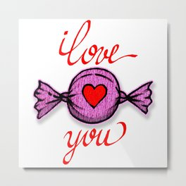 I love you (pink) written in red Metal Print