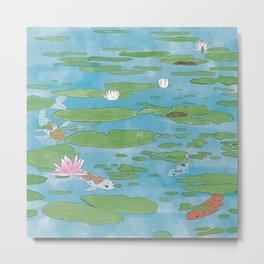 Koi Water Lily Scene Metal Print