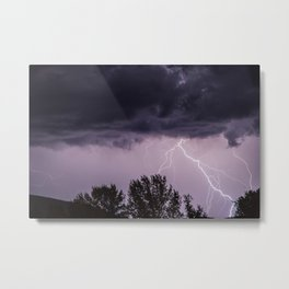 Lightning storm in the mountains Metal Print