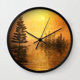 Misty Oriental Sunny Landscape Reflection Wall Clock