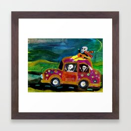 Day of the Dead hippies on a road trip  Framed Art Print