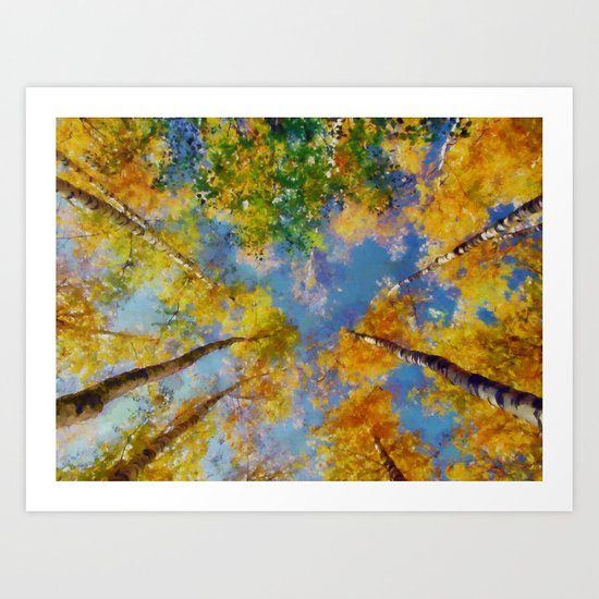 Fall trees in the sky Art Print
