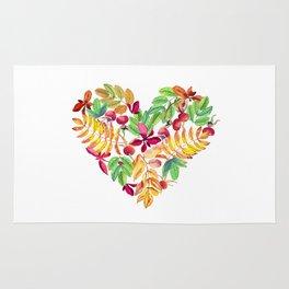 Heart leaves watercolor Rug