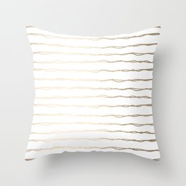 Simply Wavy Lines in White Gold Sands on White Throw Pillow