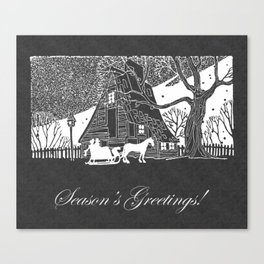 Season's Greetings Romantic Snow Scene Chalkboard Canvas Print