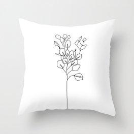 Botanical floral illustration line drawing - Eucalyptus Throw Pillow