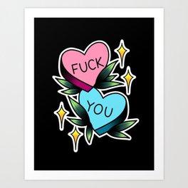 Fuck You Candy Hearts Art Print