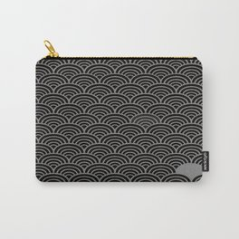 Black Gray Art Deco Pattern Carry-All Pouch