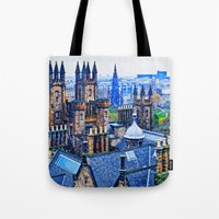 edinburgh Tote Bags featuring Edinburgh Rooftops  by Valerie Paterson