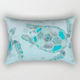 Glamour Aqua Turquoise Turtle Underwater Scenery Rectangular Pillow