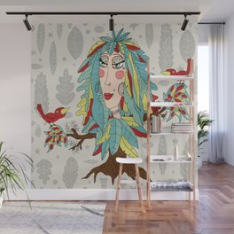 quirky bohemian boho tree, leaves and feather fantasy woman / girl Wall Mural