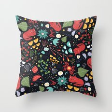 cats and flowers Throw Pillow