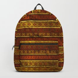 African Ethnic Tribal Pattern in golds and brown Backpack