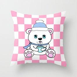 Polar Bear Drinking Hot Chocolate Throw Pillow