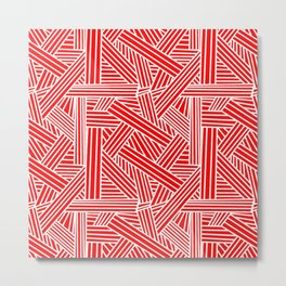 Sketchy Abstract (White & Red Pattern) Metal Print