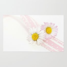 Spring Flowers White and Pink Rug