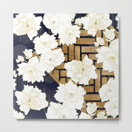 Navy Herringbone with Peony Flowers Print Metal Print