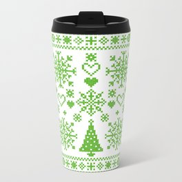 Christmas Cross Stitch Embroidery Sampler Green And White Travel Mug