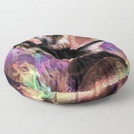 Evil Space Laser Cat On Dinosaur Unicorn On Taco Floor Pillow