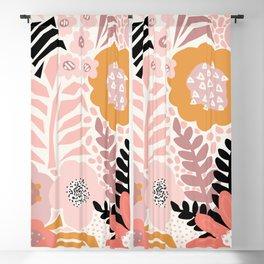 Large Pastel Floral Pattern Orange Pink White Black Gold Meadow Blackout Curtain
