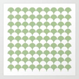 Fan Pattern 321 Sage Green Art Print