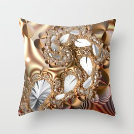 Silver leaves on golden glow -- A fractal landscape Throw Pillow