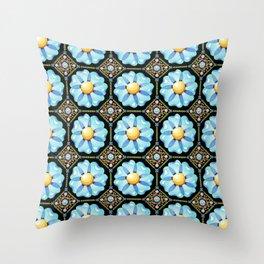 Blue Floral Millefiori Throw Pillow