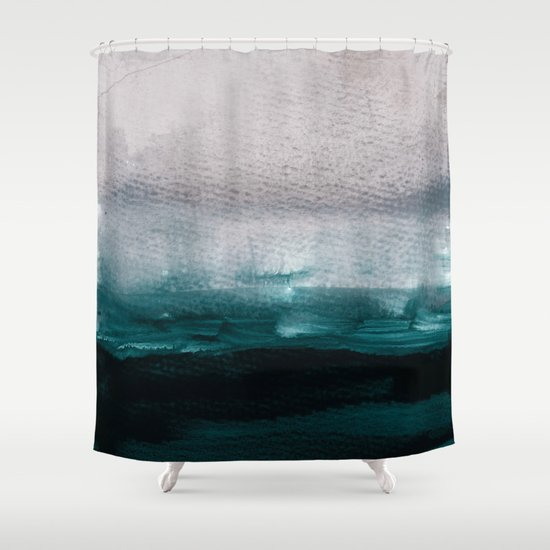 dark teal shower curtain.  pale pink over dark teal Shower Curtain by patternization Society6