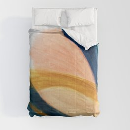 Slow as the Mississippi - Acrylic abstract with pink, blue, and brown Comforters